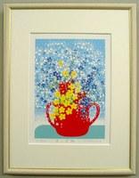 版画ST70 赤い花瓶吉岡浩太郎
