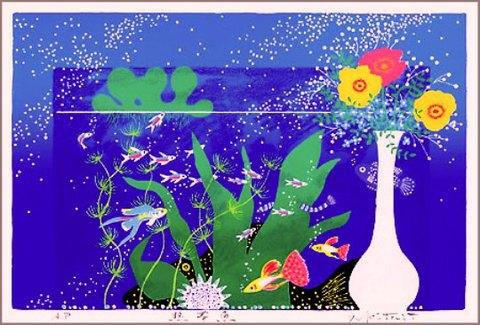 版画DK22 熱帯魚 吉岡浩太郎