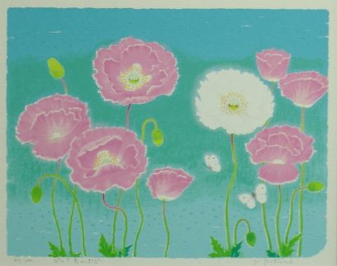 風水版画3322 恋愛運 ピンク色のポピー 吉岡浩太郎