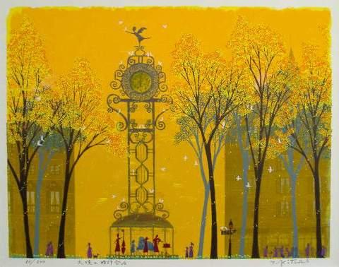 風水版画 3324 金運 天使の時計台A吉岡浩太郎