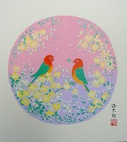 色紙72花と小鳥・春・吉岡浩太郎