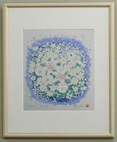 風水版画SSF2 家庭運 白い花吉岡浩太郎