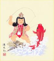 色紙13若武者と鯉・吉岡浩太郎