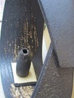 信楽焼陶器花器8039-04刷毛目楕円卓飾り