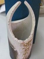 信楽焼陶器花器8039-07白窯変金花入10号