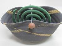 信楽焼蚊やり器8058-07黒砂流し蚊やり器(器具付)