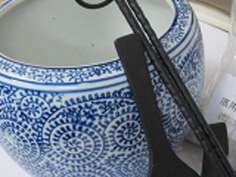 手火鉢から草W19cmH14,5cm6点セット南部鉄火箸