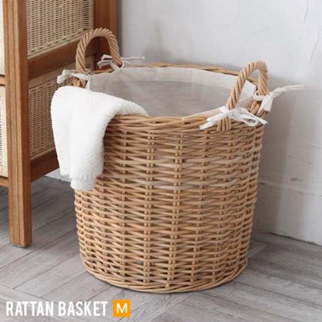 rw136】 【※代引不可】 ラタン バスケット『 ラタンバスケット Mサイズ』 かご 編み 収納 ランドリー