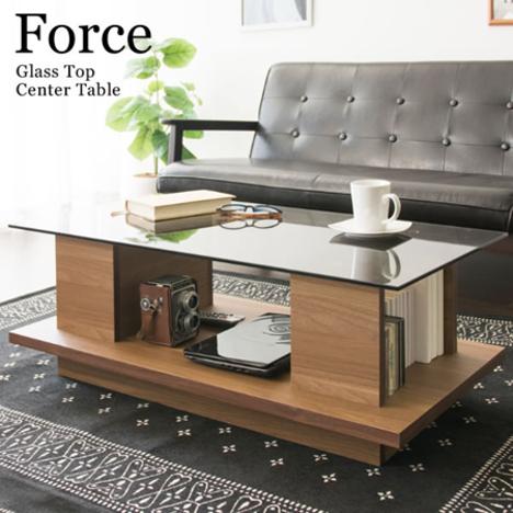 yka4322】 【※代引不可】 センターテーブル ガラステーブル『センターテーブル Force』 収納付き おしゃれ 大きめ 90cm
