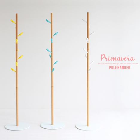 i1221】 【※代引不可】 ポールハンガー 北欧『ポールハンガー Primavera』 木製 天然木 鳥 収納家具