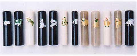 干支印鑑◆実印◆黒水牛◆ケース付◆15mm
