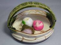 瀬戸焼 織部手付き菓子鉢