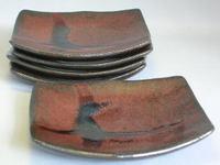 瀬戸焼 鉄釉銘々皿揃い