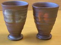 焼〆手造り刷毛目ペアフリーカップ