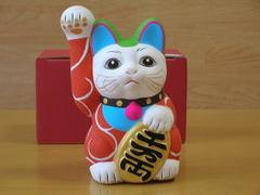 赤唐草招き猫貯金箱