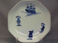 青花 三人異人と帆船八角7寸皿