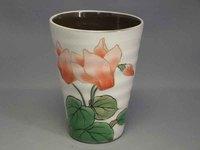 清水焼 陶あん 白掛けシクラメンミニフリーカップ