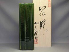 美濃焼 総織部削り角花瓶