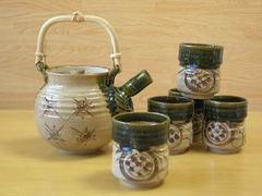 織部鉄絵土瓶茶器
