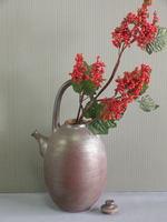 立杭焼 市野英一 赤土部釉土瓶型花生
