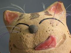 瀬戸焼 更紗窯 お祭り猫置物