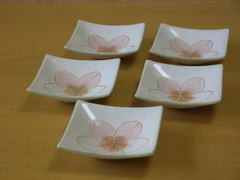 清水焼 陶あん窯 花花さくら三寸角皿揃い
