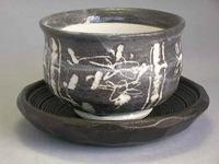 赤津焼 鼠志野陶碗 茶托付