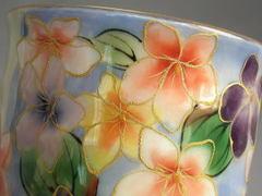 清水焼 陶葊窯 花集いすみれ 湯呑み