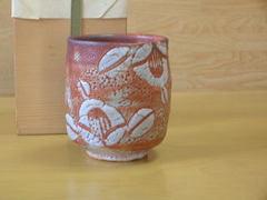 赤志野椿紋湯呑