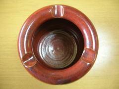 清水焼 嘉邦窯 柿釉火鉢型灰皿