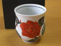 薔薇の花湯呑