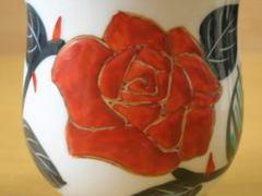 伊万里焼 徳七窯 薔薇の花湯呑(小)