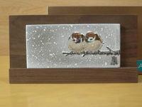 雪雀図木台陶板