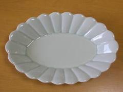 キクワリ楕円皿(青磁・大)