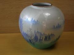 九谷焼 勇峰窯 釉裏銀彩木立8号花瓶