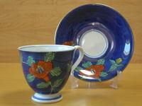染錦花絵コーヒー碗皿