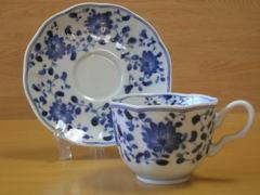 染付菊唐草コーヒー碗皿