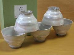 陶粉引陶碗揃い