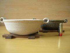 伊賀焼 やまほん陶房 白樺・黒柿井桁付き一人鍋ペアセット