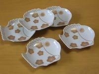 波佐見焼 林九郎窯 梅鯛型小皿揃い(白)