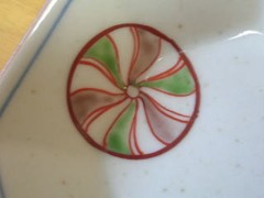 有田焼 江頭製陶所 染錦丸紋八角4寸皿揃い