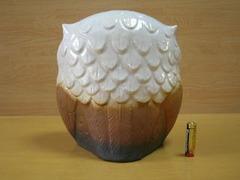 信楽焼 陶仙窯 白フクロウ置物(7号)