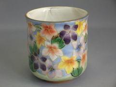 清水焼 陶葊窯 花集いすみれ湯呑み