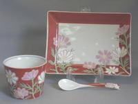 九谷焼 青効窯 四季の花コスモスコーヒーセット