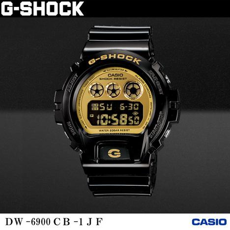20%OFF G-SHOCK G-ショック クレイジーカラーズ ブラック×ゴールド 光沢ボディ 反転液晶 デジタル CASIO カシオ DW-6900CB-1JF