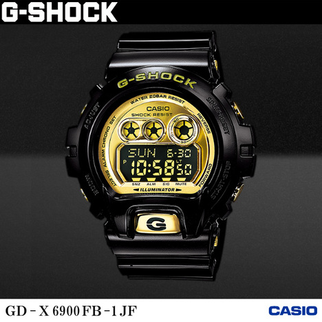 20%OFF G-SHOCK G-ショック ビッグサイズ GD-X6900系 デジタル ブラック×ゴールド光沢塗装 CASIO カシオ GD-X6900FB-1JF