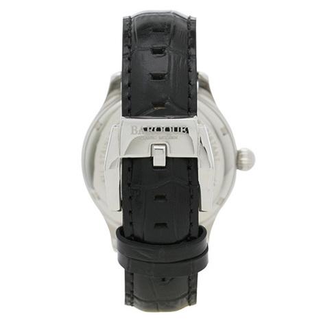 【BAROQUE - バロック】10%OFF「DIVINO / ディヴィノ」シルバーケース / ブラック文字盤 / ブラック革 / 日本製自動巻き メンズウォッチ BA1006S-02B