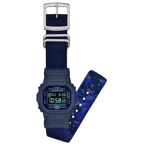 在庫限り 20%OFF G-SHOCK G-ショック ミリタリーテイスト DW-5600系 ブルー デジタル CASIO カシオ 国内正規品 DW-5600LU-2JF