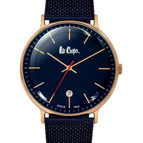 20%OFF リークーパー LeeCooper ロンドン発 デニムブランド ネイビー文字盤 ステンレスメッシュベルト 腕時計 メンズウォッチ  正規品 LC6382.490