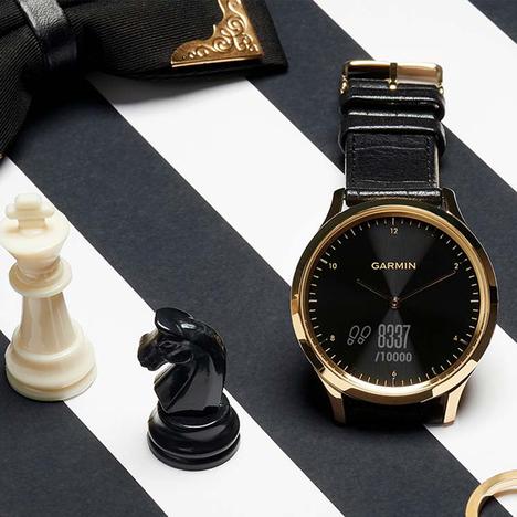 ガーミン GARMIN フィットネス スマートウォッチ vivomove HR Gold Black Leather 心拍計 ゴールド×ブラックレザー 日本版正規品 010-01850-7C